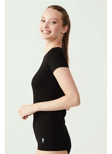 U.S. Polo Assn. Kadın Beyaz Yuvarlak Yaka T-Shirt Siyah
